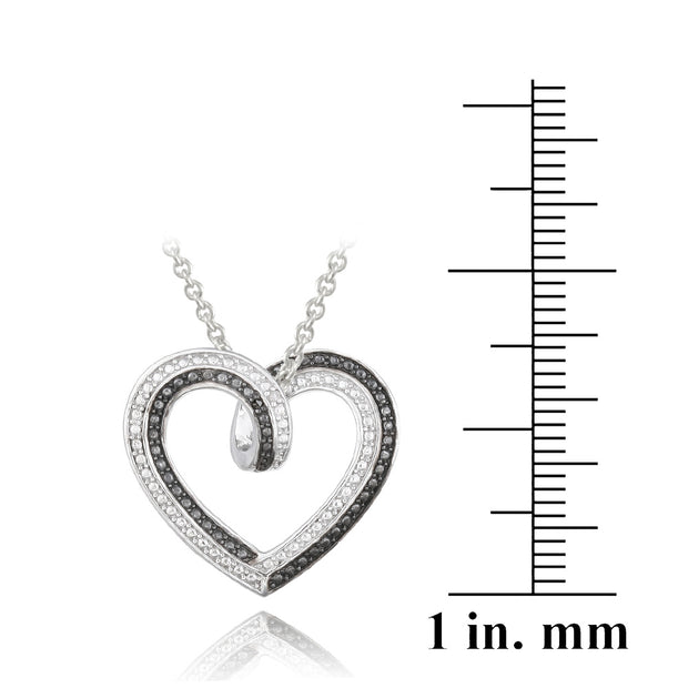 Black & White Diamond Accent Reversible Heart Necklace
