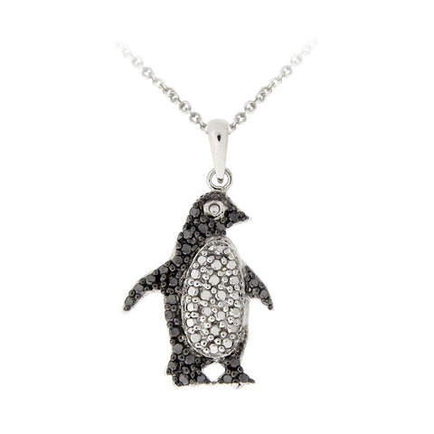 Silver Tone Black Diamond Accent Penguin Necklace