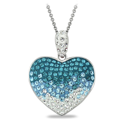 Light Blue Crystal Ombre Heart Necklace, Made with Swarovski Elements