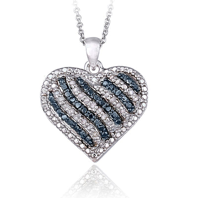 1/2 Carat tdw Blue & White Diamond Striped Heart Necklace