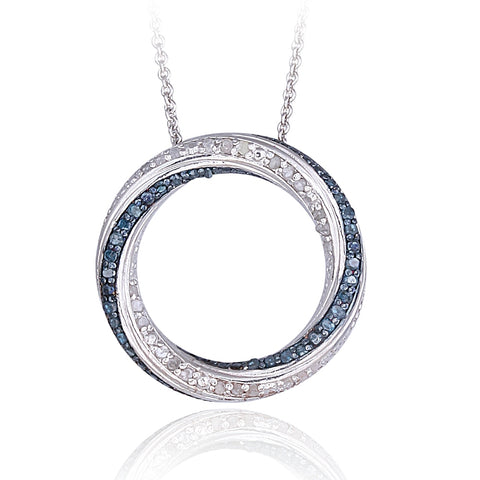 0.50ct TDW Blue & White Diamond Eternity Necklace