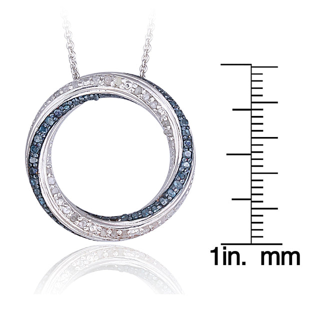 1/2 Carat tdw Blue & White Diamond Eternity Necklace