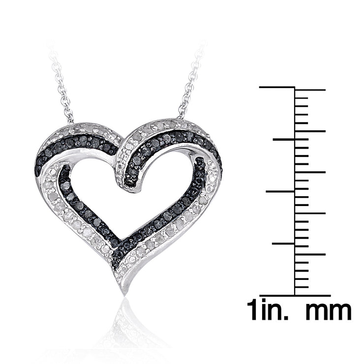 1/2 Carat tdw Black & White Diamond Open Heart Necklace