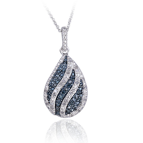 0.50ct TDW Blue & White Diamond Striped Teardrop Necklace