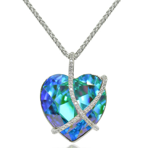 "Bermuda Blue Criss Cross Engraved ""A Kiss for My Love"" Heart Necklace made with Swarovski Crystal"