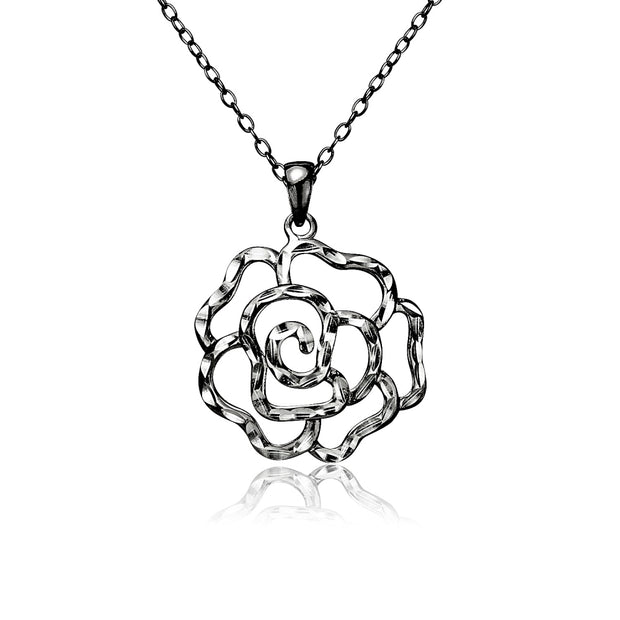 Black Flashed Sterling Silver Two-Tone Diamond-cut Rose Flower Pendant Necklace