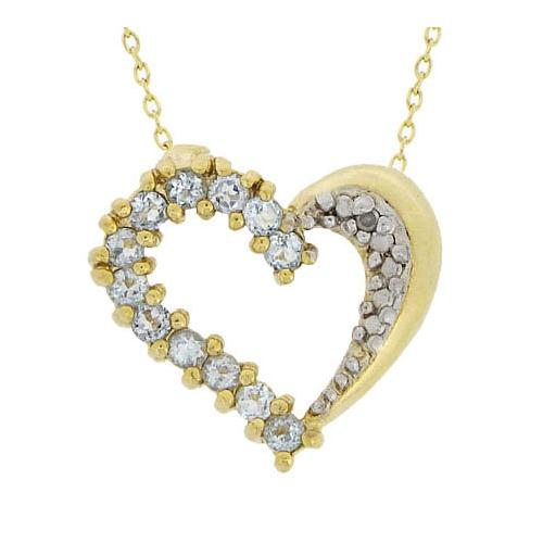18K Over Sterling Silver .60 CTW Blue Topaz & Diamond Heart Pendant