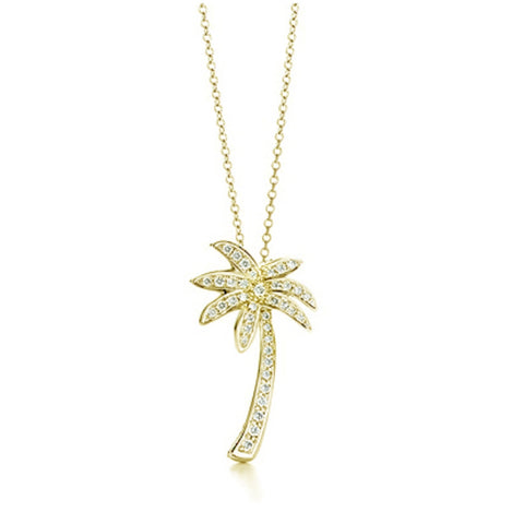 18k Gold over Silver Designer-Inspired CZ Palm Tree Pendant