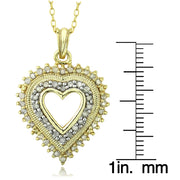 18k Gold over Sterling Silver 1/2 ct Diamond Heart Necklace (JK-I3)