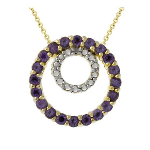 18k Gold over Silver Genuine Diamond Accent & Amethyst Eternity Pendant