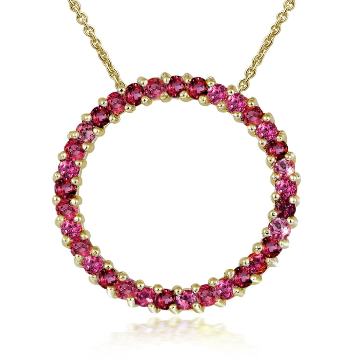 Gold Tone over Sterling Silver 1.6ct. TGW Ruby Circle Necklace