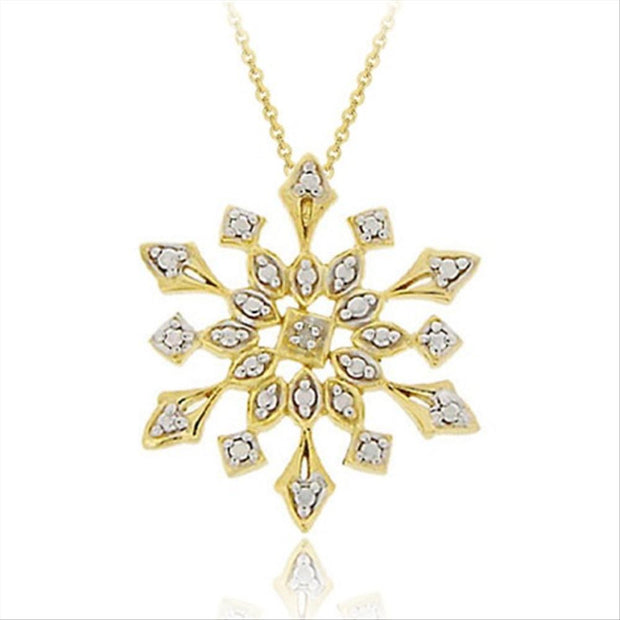 18K Gold over Sterling Silver Genuine Diamond Accent Snowflake Pendant