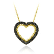 18K Gold over Sterling Silver and .38ct. TDW Champagne Diamond Open Heart Pendant