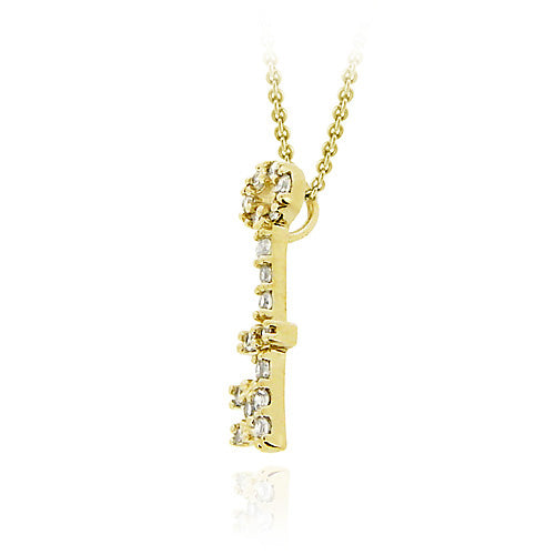 18K Gold over Sterling Silver Designer Inspired CZ Mini Key Slide Pendant