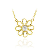 18K Gold over Sterling Silver Diamond Accent Flower Necklace