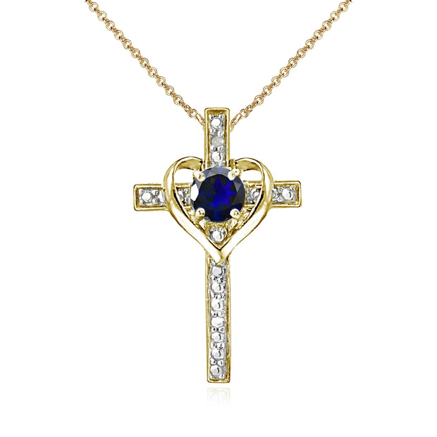 Yellow Gold Flashed Sterling Silver Created Blue Sapphire Cross Heart Pendant Necklace for Girls, Teens or Women