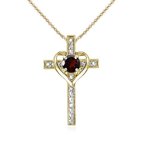 Yellow Gold Flashed Sterling Silver Garnet Cross Heart Pendant Necklace for Girls, Teens or Women
