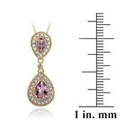 18K Gold over Sterling Silver Amethyst & Diamond Accent Double Teardrop Pendant, 18""