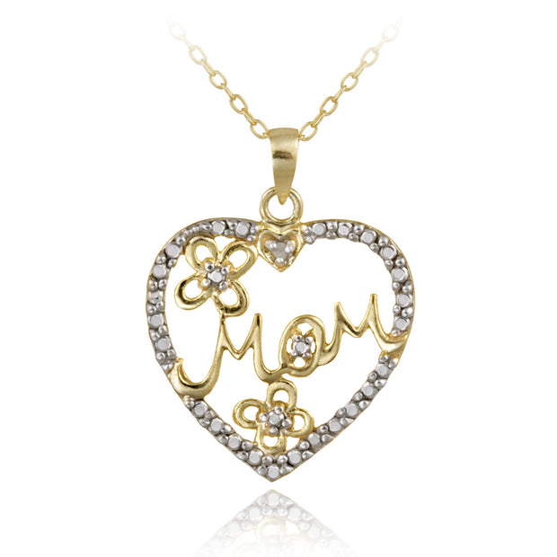 18K Gold over Sterling Silver Diamond Accent Mom Heart Pendant