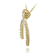 18K Gold over Sterling Silver Diamond Accent Wishbone Necklace