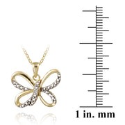 18K Gold over Sterling Silver Diamond Accent Butterfly Necklace