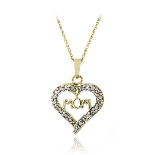 18K Gold over Sterling Silver 1/10 ct Diamond Mom Open Heart Necklace