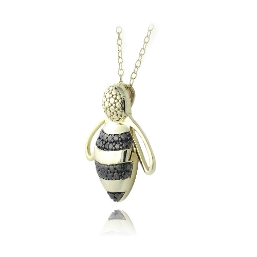 18K Gold over Sterling Silver Black Diamond Accent Bumble Bee Necklace