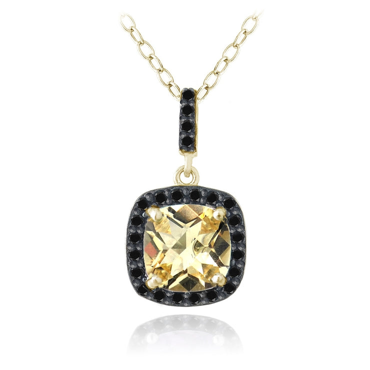 Gold Tone over Sterling Silver 3ct Citrine & Black Spinel Cushion Cut Necklace