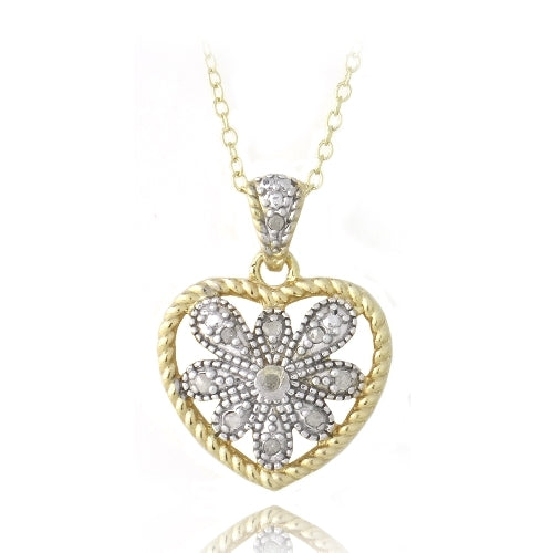 18K Gold over Sterling Silver Two Tone 1/10ct Diamond Filigree Heart Necklace