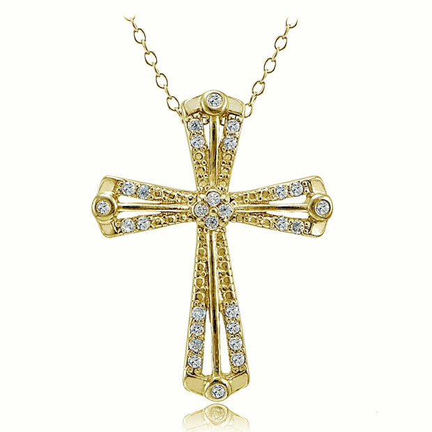 Gold Tone over Sterling Silver Cubic Zirconia Cross Ribbon Necklace
