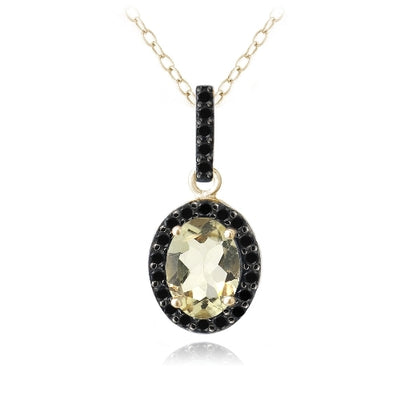 18K Gold over Sterling Silver 1.75ct Citrine & Black Spinel Oval Necklace