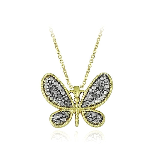 18K Gold over Sterling Silver 1/10ct Diamond Butterfly Pendant