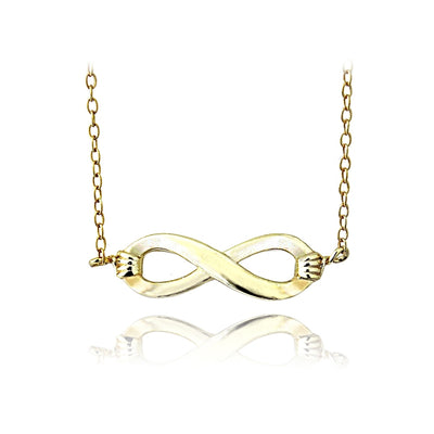 Yellow Gold Flashed Sterling Silver Small Infinity Polished Necklace