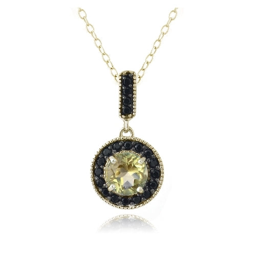 18K Gold over Sterling Silver 2.5ct Citrine & Black Spinel Round Dangle Necklace