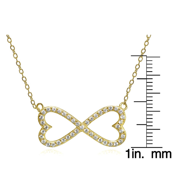 Yellow Gold Flashed Sterling Silver Cubic Zirconia Heart Infinity Necklace