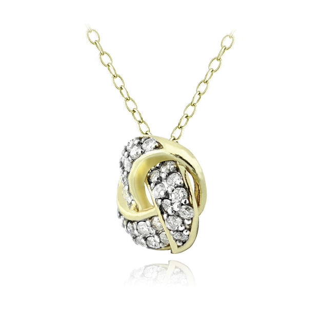 Gold Tone over Sterling Silver 1/4 ct Diamond Love Knot Necklace, (H-I, I2)