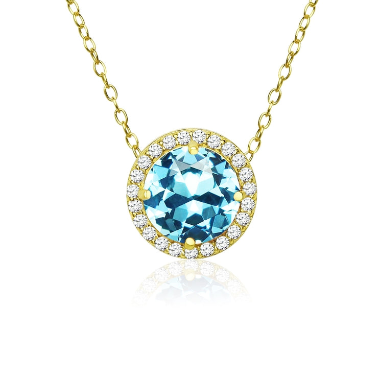 Yellow Gold Flashed Sterling Silver Created Aquamarine and Cubic Zirconia Round Halo Necklace