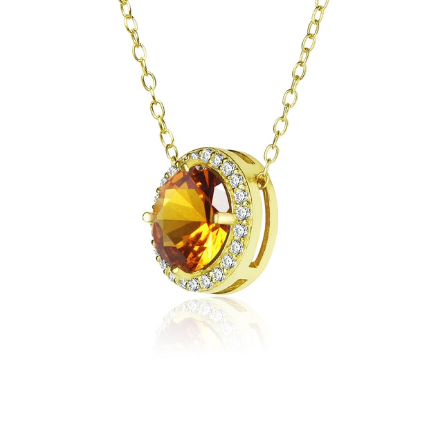 Yellow Gold Flashed Sterling Silver Simulated Citrine and Cubic Zirconia Round Halo Necklace