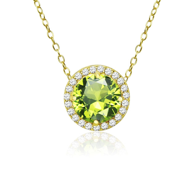 Yellow Gold Flashed Sterling Silver Simulated Peridot and Cubic Zirconia Round Halo Necklace