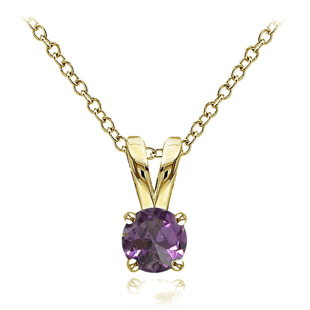 Yellow Gold Flashed Sterling Silver Created Alexandrite 5mm Round Solitaire Necklace