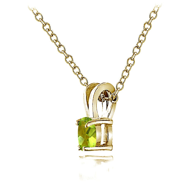 Yellow Gold Flashed Sterling Silver Peridot 5mm Round Solitaire Necklace