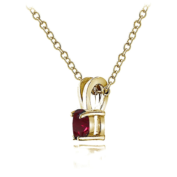 Yellow Gold Flashed Sterling Silver Created Ruby 5mm Round Solitaire Necklace