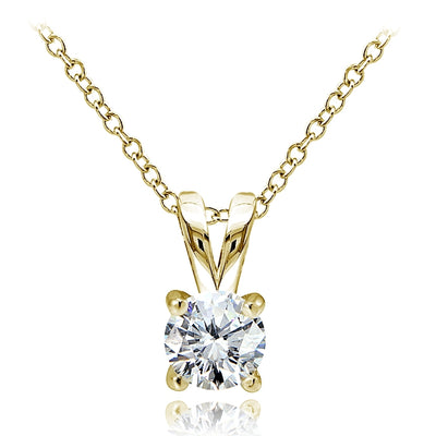Yellow Gold Flashed Sterling Silver Cubic Zirconia 5mm Round Solitaire Necklace