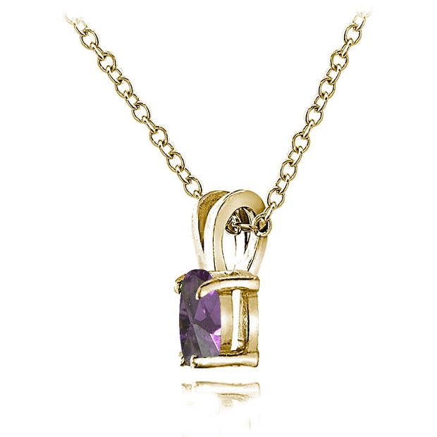 Yellow Gold Flashed Sterling Silver Created Alexandrite 6x4mm Oval Solitaire Necklace