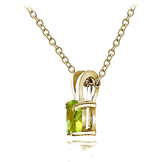 Yellow Gold Flashed Sterling Silver Peridot 6x4mm Oval Solitaire Necklace
