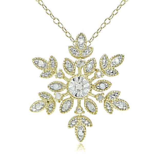 18K Gold over Sterling Silver 1/10 ct tdw Diamond Snowflake Necklace