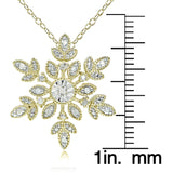 18K Gold over Sterling Silver 1/10ct TDW Diamond Snowflake Necklace