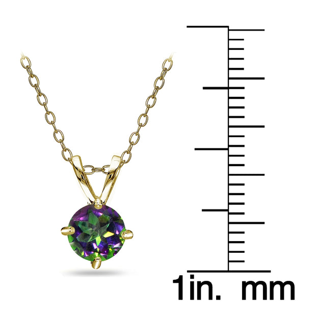 Yellow Gold Flashed Sterling Silver Green Mystic Topaz Round Solitaire Necklace, 6mm