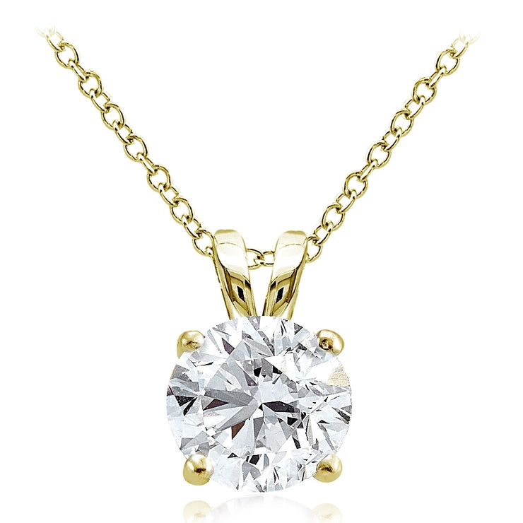 Gold Tone over Sterling Silver 4ct Cubic Zirconia 10mm Round Solitaire Necklace