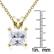 Gold Tone over Sterling Silver 9.5ct Cubic Zirconia 12mm Square Solitaire Necklace